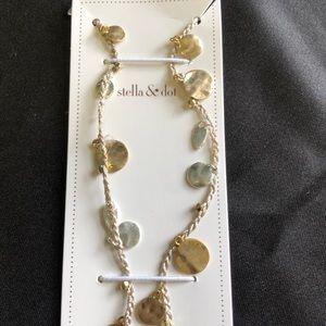 Stella & Dot Setta Medallion Necklace Silver/Gold